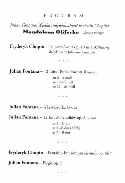 Julian Fontana Links – Concert Program